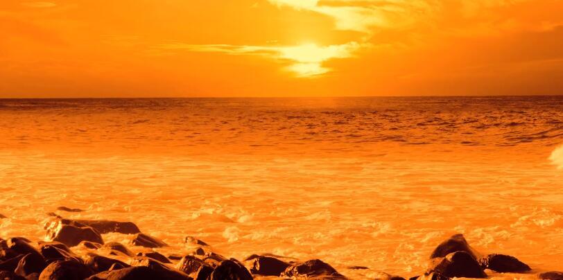 橙色日落\-海洋\-波\-海\-海滩\-