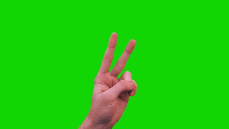 绿屏抠像胜利手势