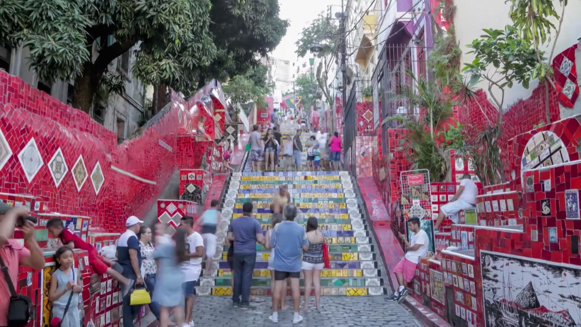 里约热内卢耶稣像大海海滩小镇景区滑板电音节烟花秀