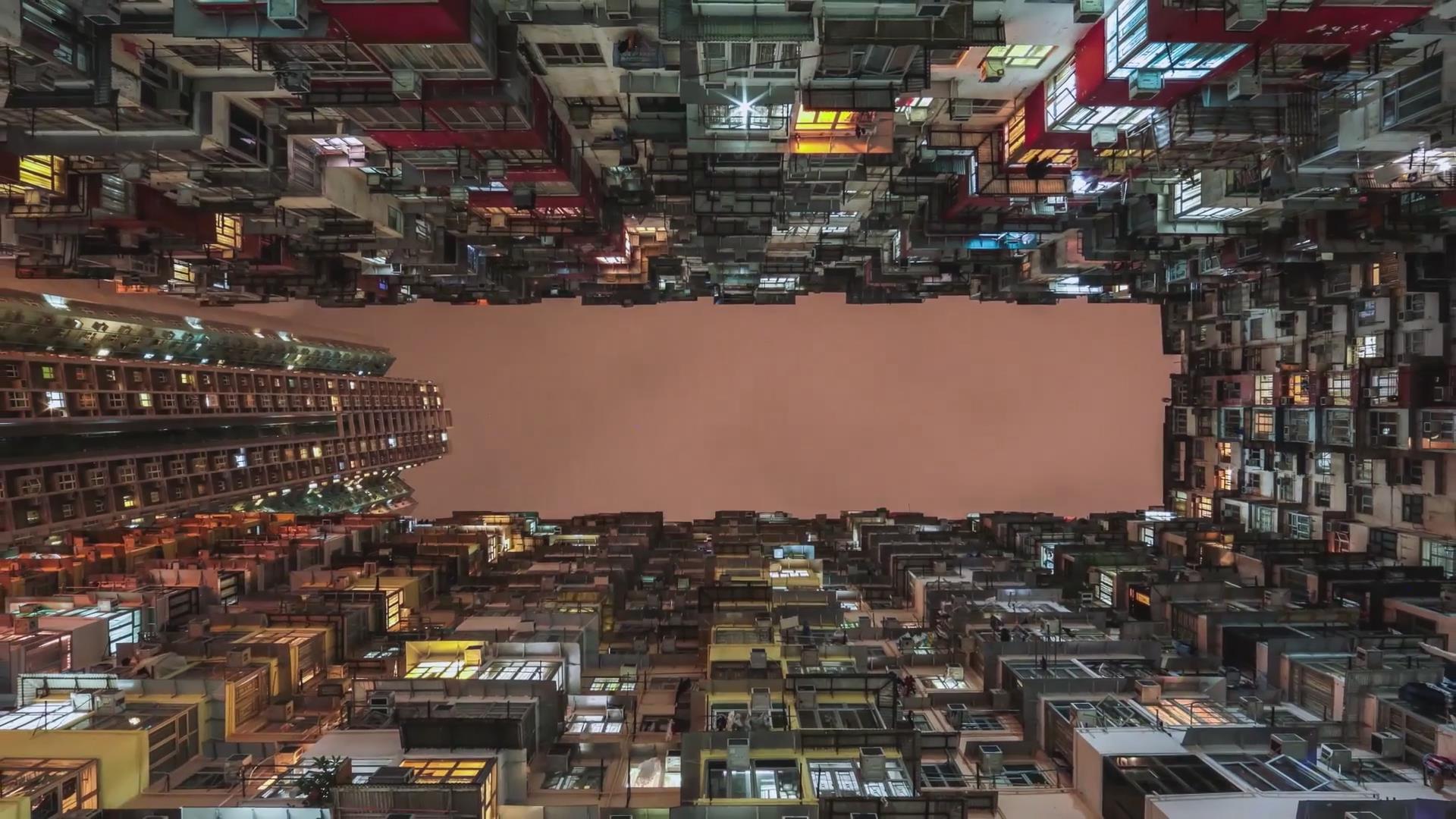 香港蜂窝住宅李小龙雕像港口延时夜景大海摩天轮电音节