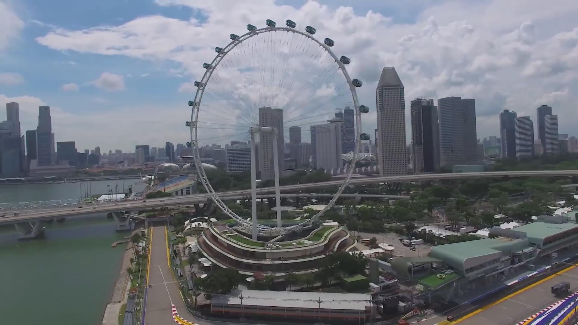 新加坡鱼尾狮大剧院金沙赌场总统府飞行者摩天轮电音节最高法院夜景延时