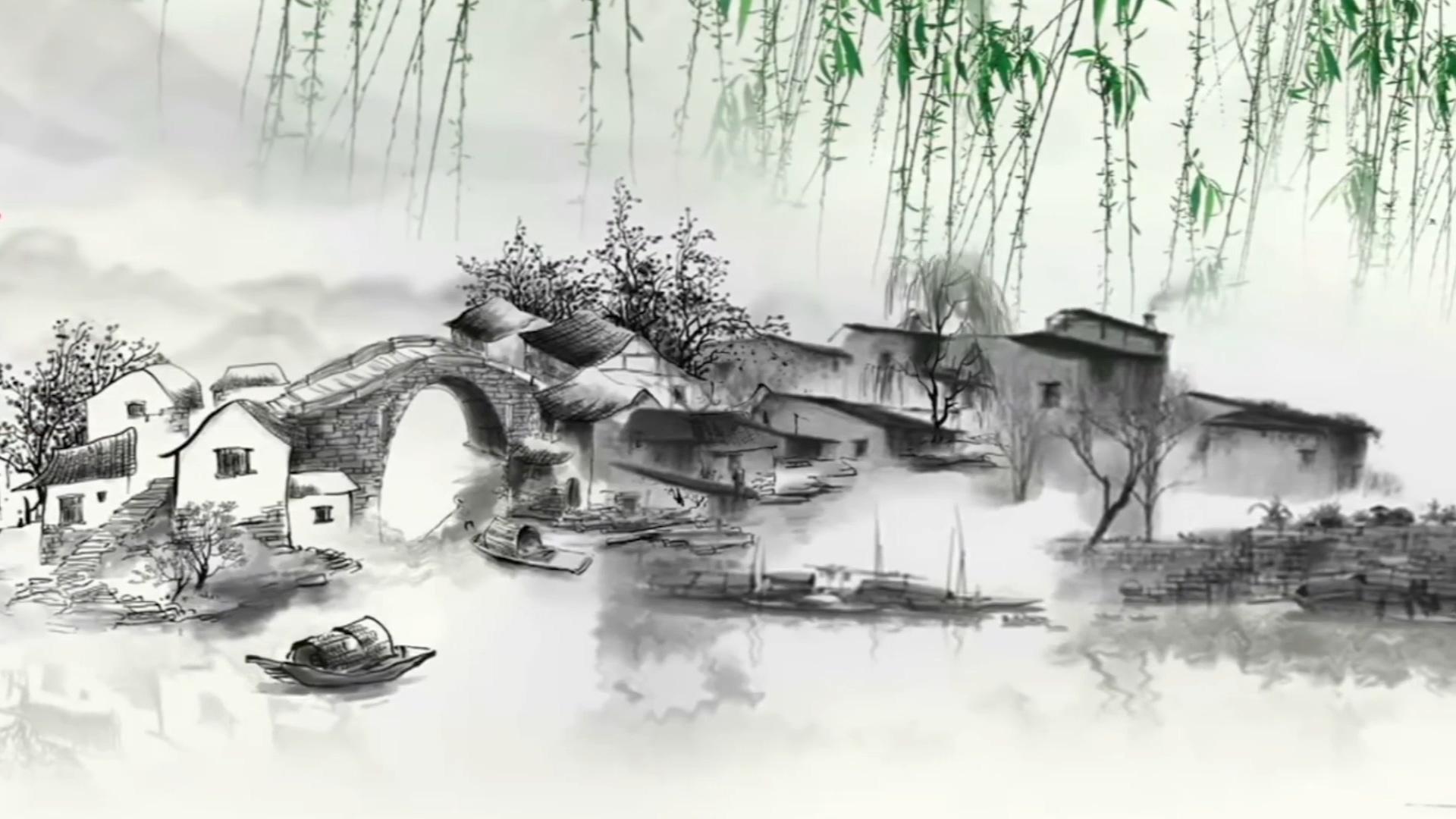 水墨山水中国风音乐笛子水墨风景动画乐曲