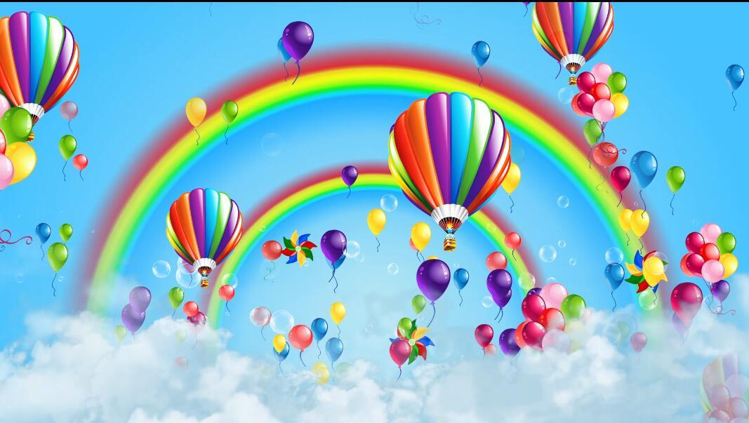 彩虹气球风车