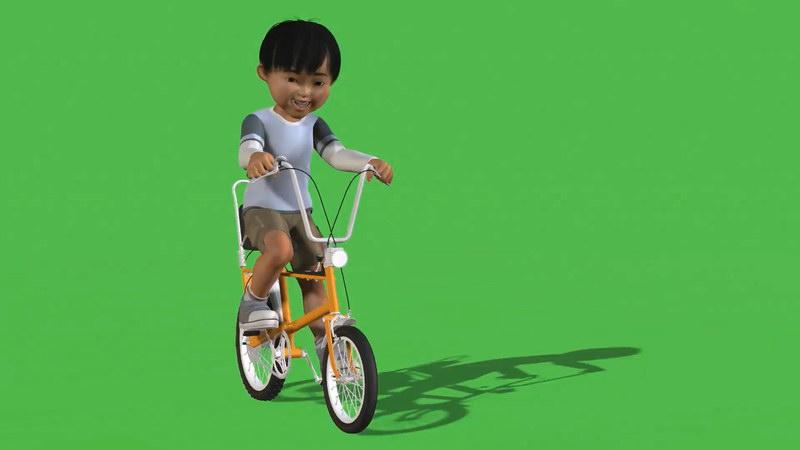 绿屏抠像骑车的男孩