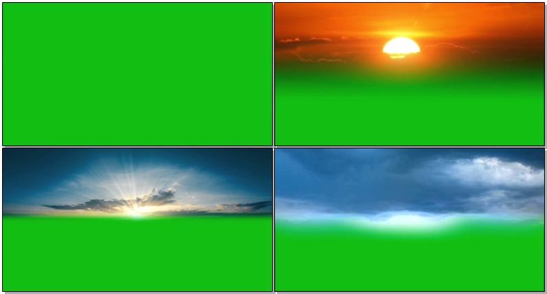绿屏抠像夕阳乌云星空