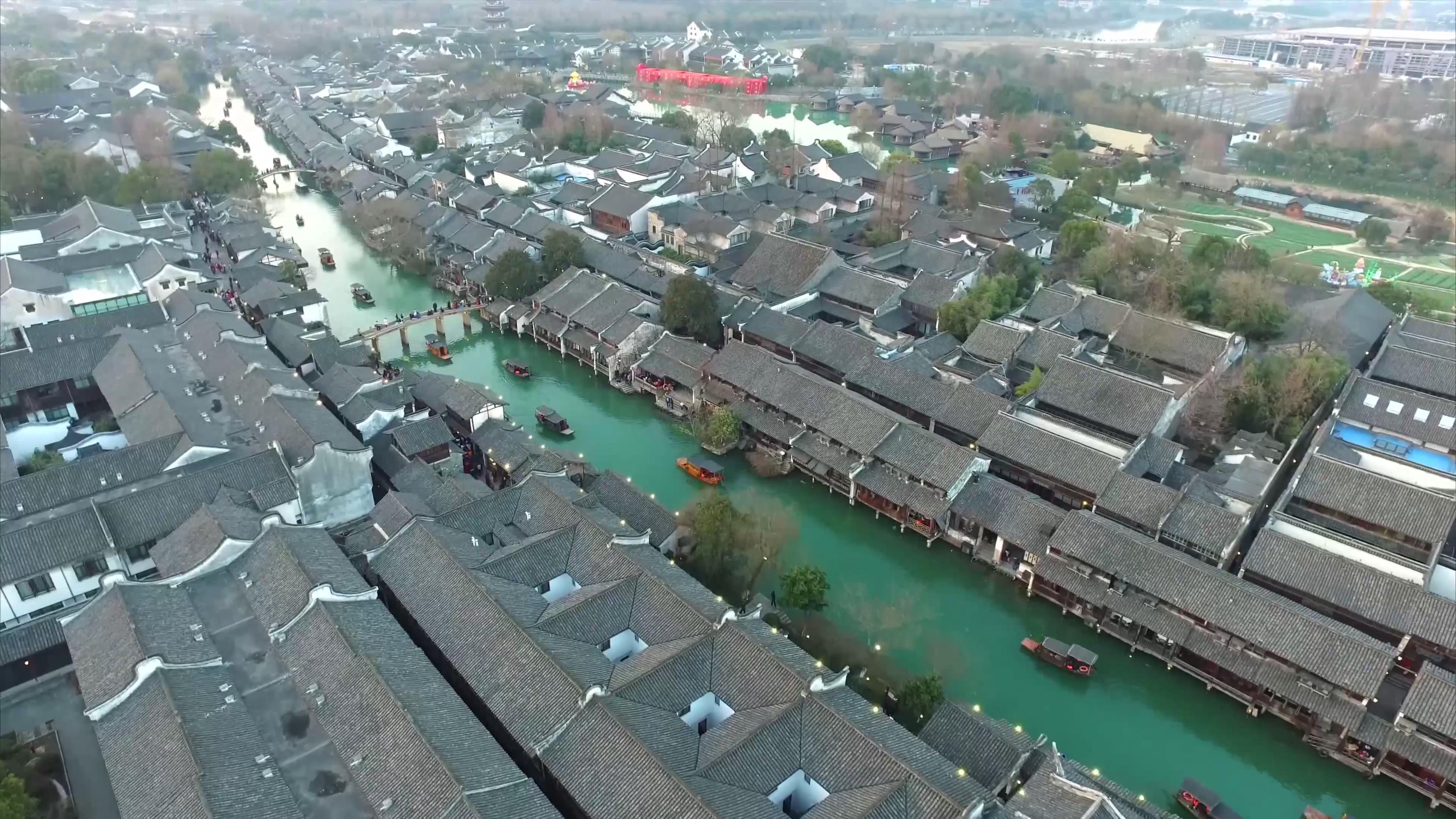 云南 乌镇 小镇 瓦房 小船 船 水镇 航拍 全景 4k