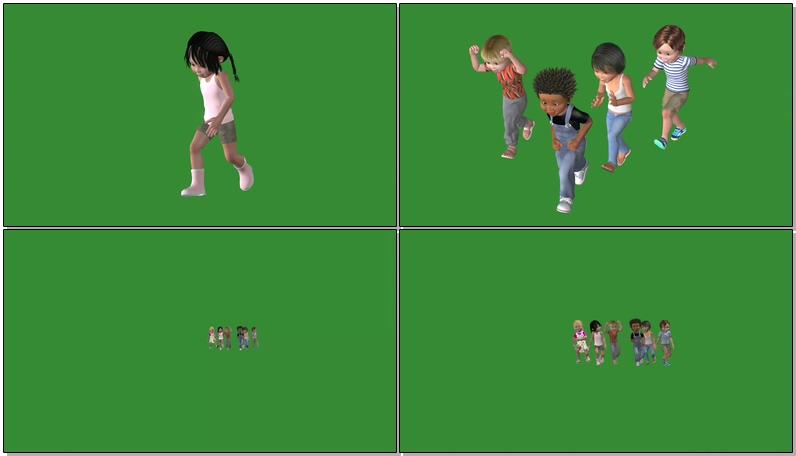 绿屏抠像跑跳玩耍的孩子