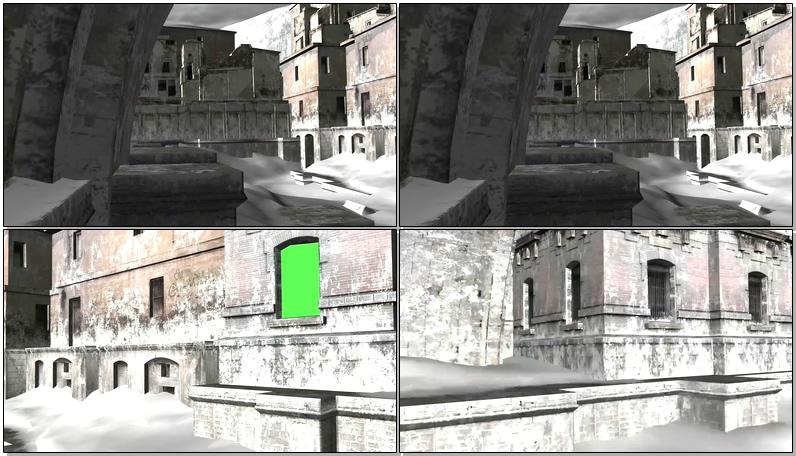 绿屏抠像铺满白雪的古堡