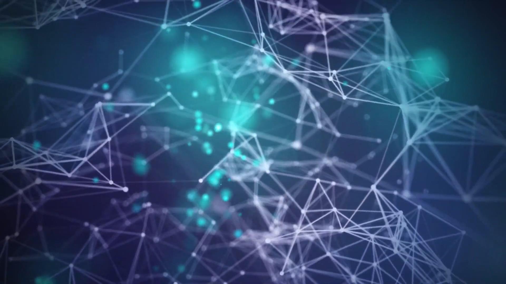 光点粒子科技线条背景几何素材三角形基因科技感粒子光点医学