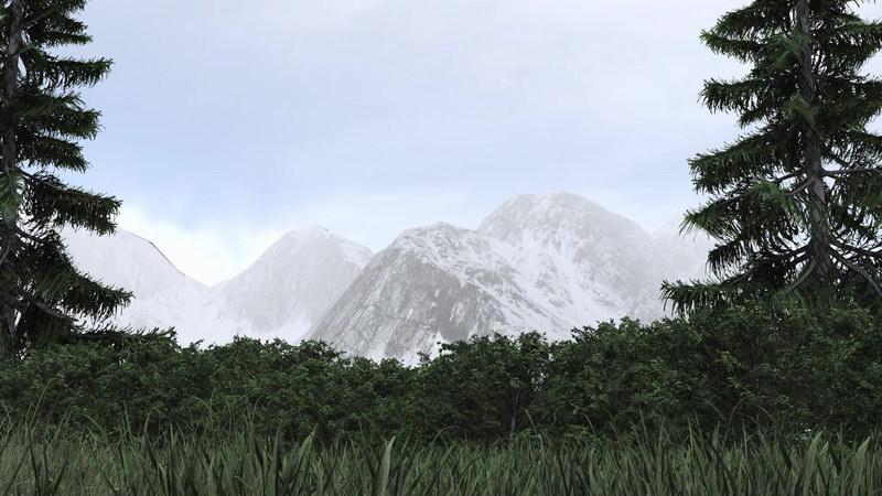 雪山草地松树
