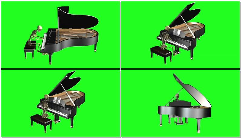 绿屏抠像弹钢琴的骷髅