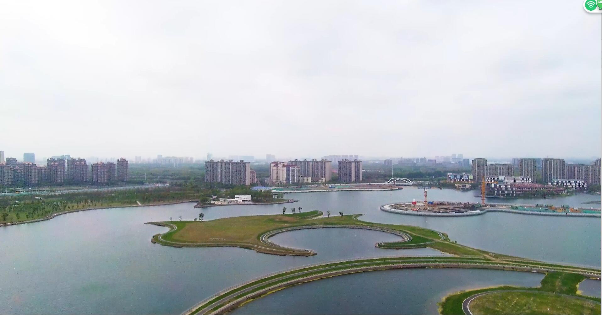 上海之鱼城市绿地俯拍航拍4k湖泊