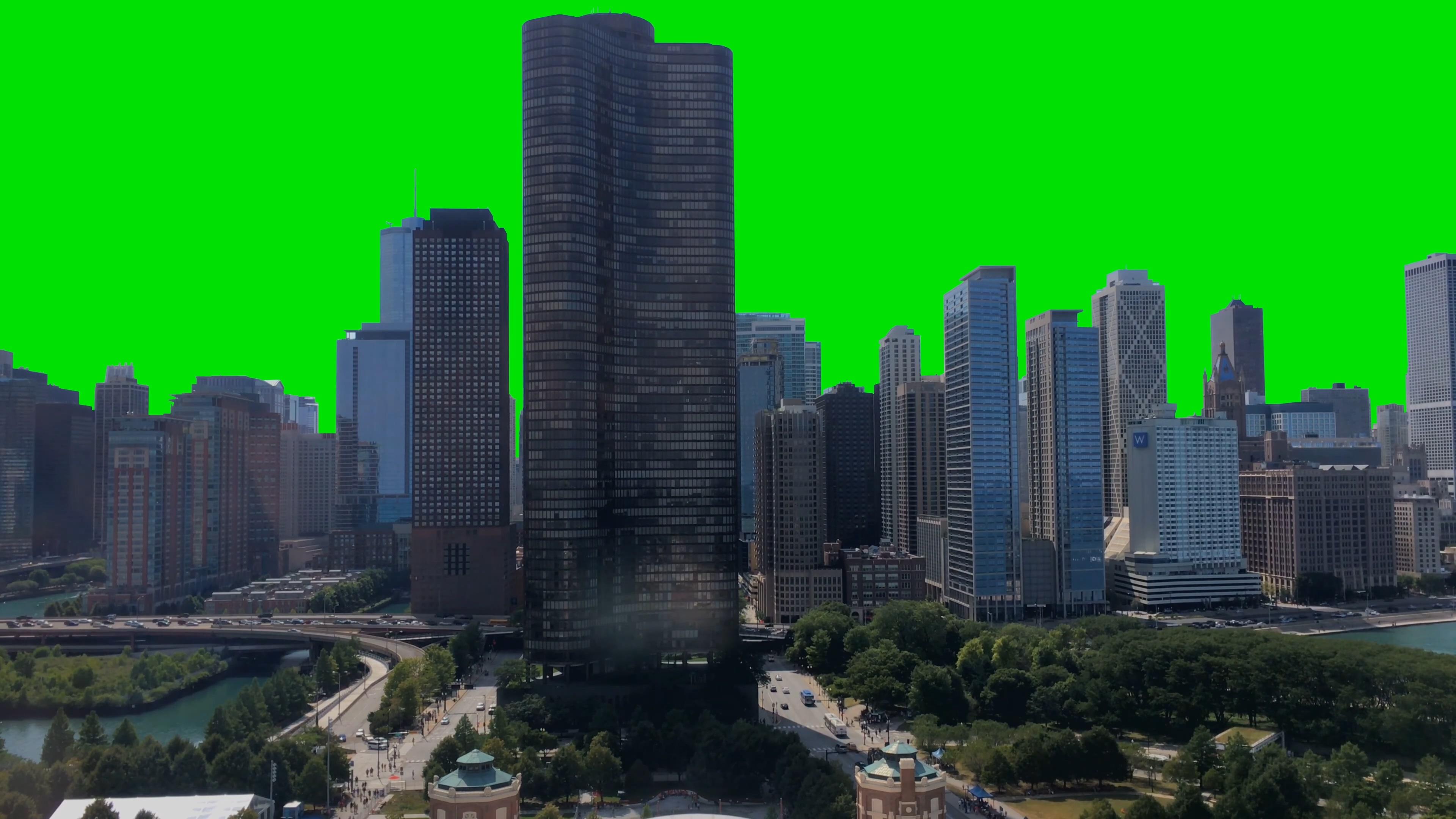 \[4K\]绿屏抠像城市高楼大厦建筑