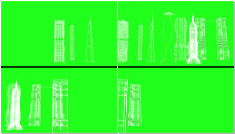 绿屏抠像火箭卫星建筑蓝图