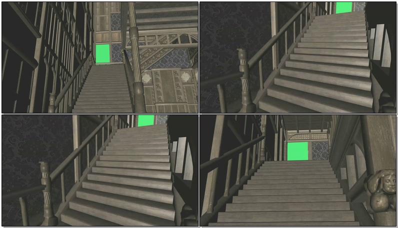 绿屏抠像鬼屋上楼梯