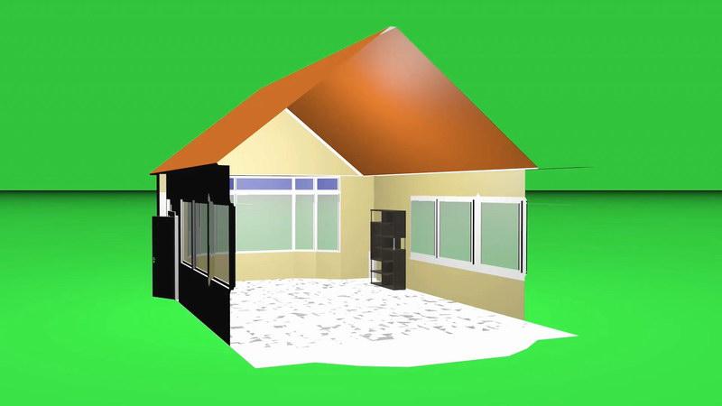 绿屏抠像立体框架房屋