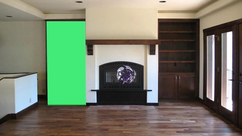 绿屏抠像房间内部投影墙