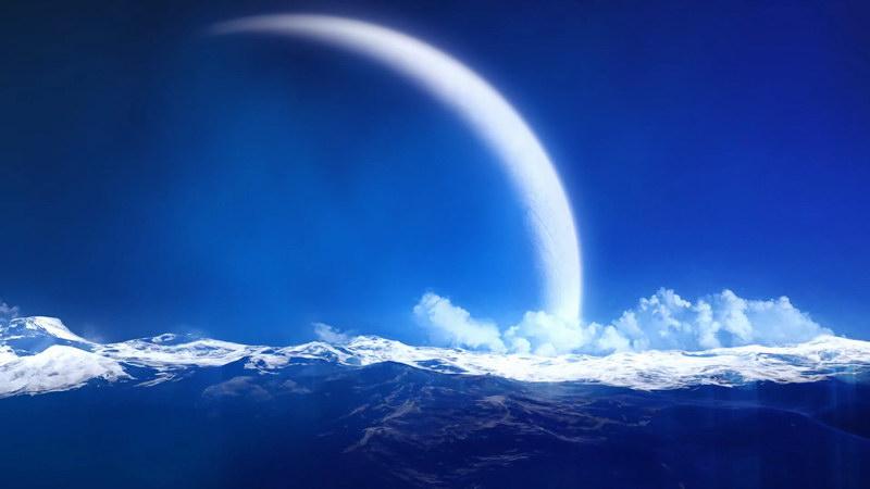 \[4K\]满月海洋白云风景