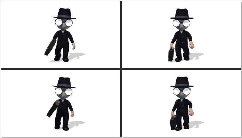 卡通3D西装小人