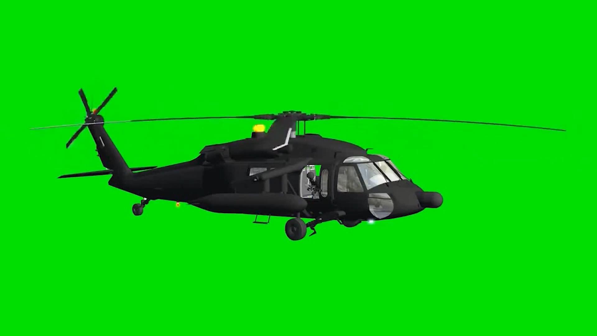 绿屏抠像军用直升机2