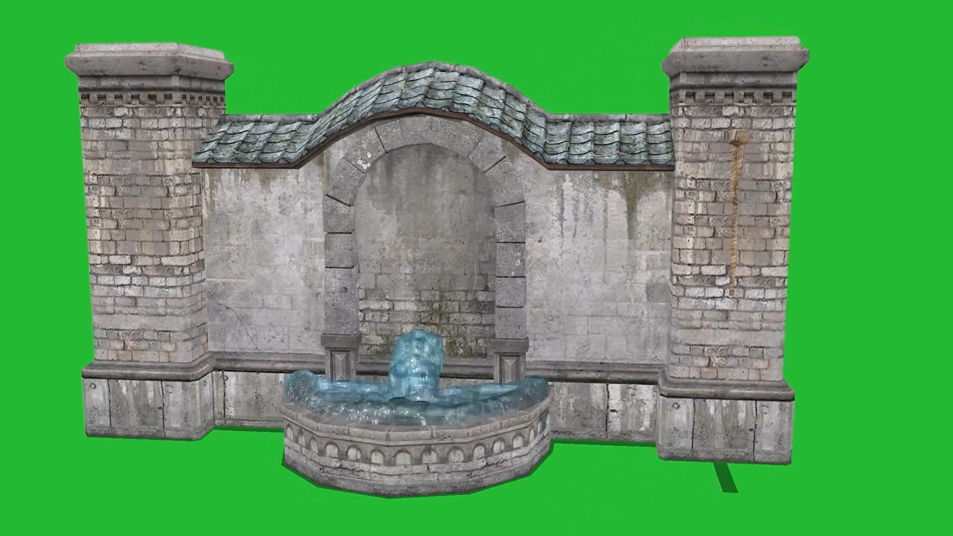绿屏抠像流水的许愿池