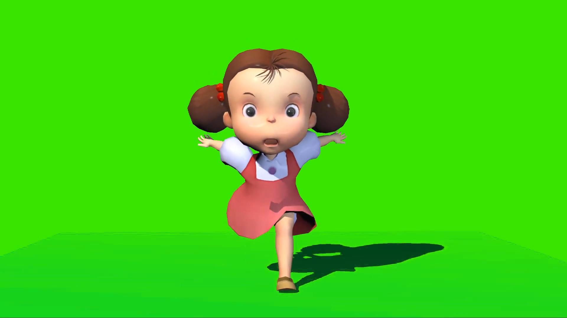 绿屏抠像奔跑的小女孩