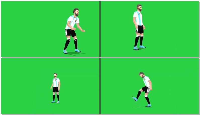 绿屏抠像足球运动员