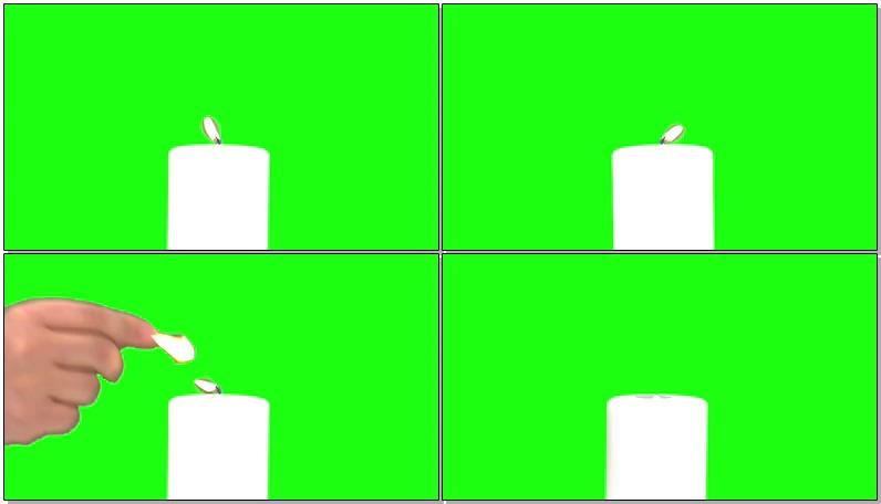 绿屏抠像燃烧的白烛