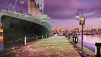 海边码头泰坦尼克号海船飞鸟情景剧表演背景
