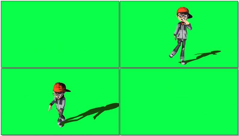 绿屏抠像跳街舞的男孩