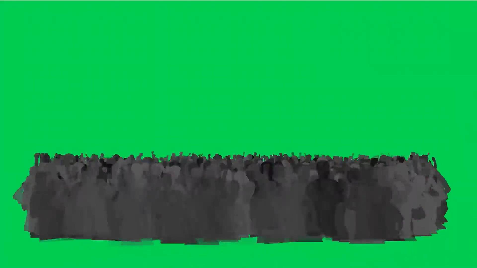 绿屏抠像欢呼的人群影子