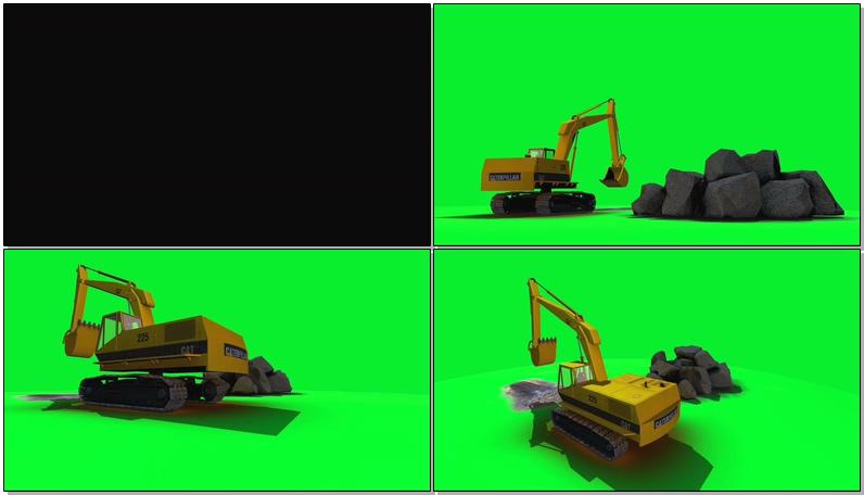 绿屏抠像工作的挖掘机