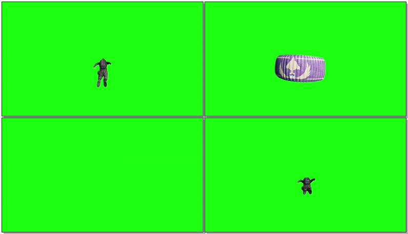 绿屏抠像跳伞降落
