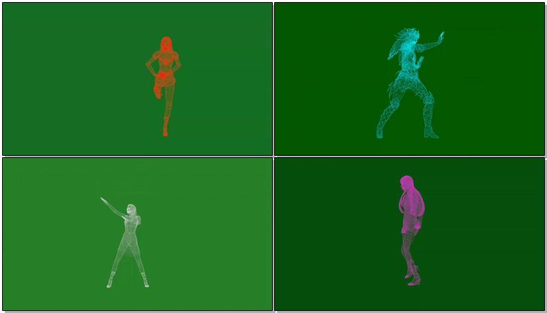绿屏抠像全息投影人物跳舞