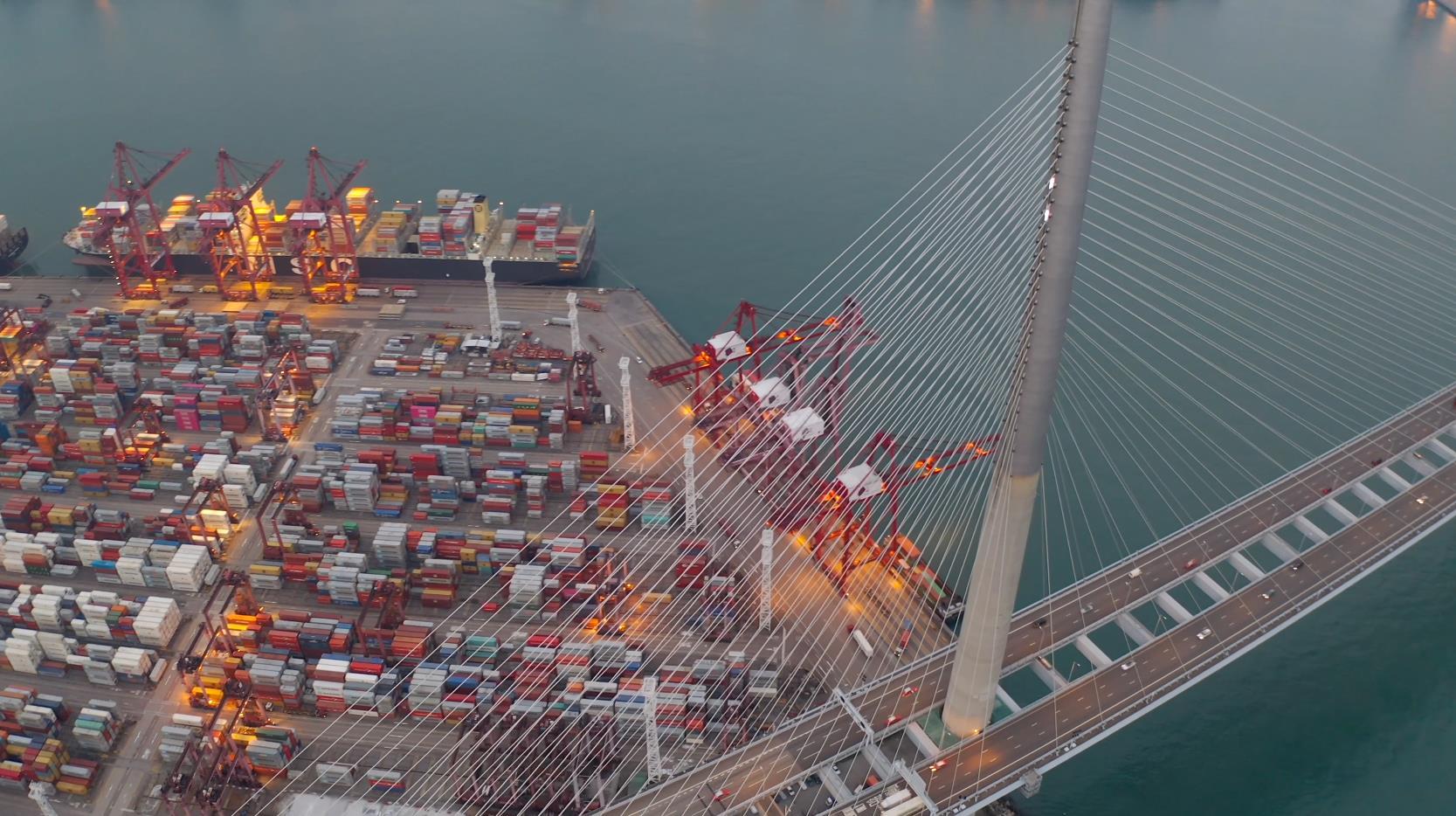 码头港湾立交桥实拍素材