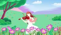 唯美花丛中少女拉小提琴舞台背景视频