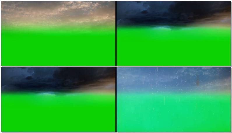绿屏抠像乌云雷雨闪电