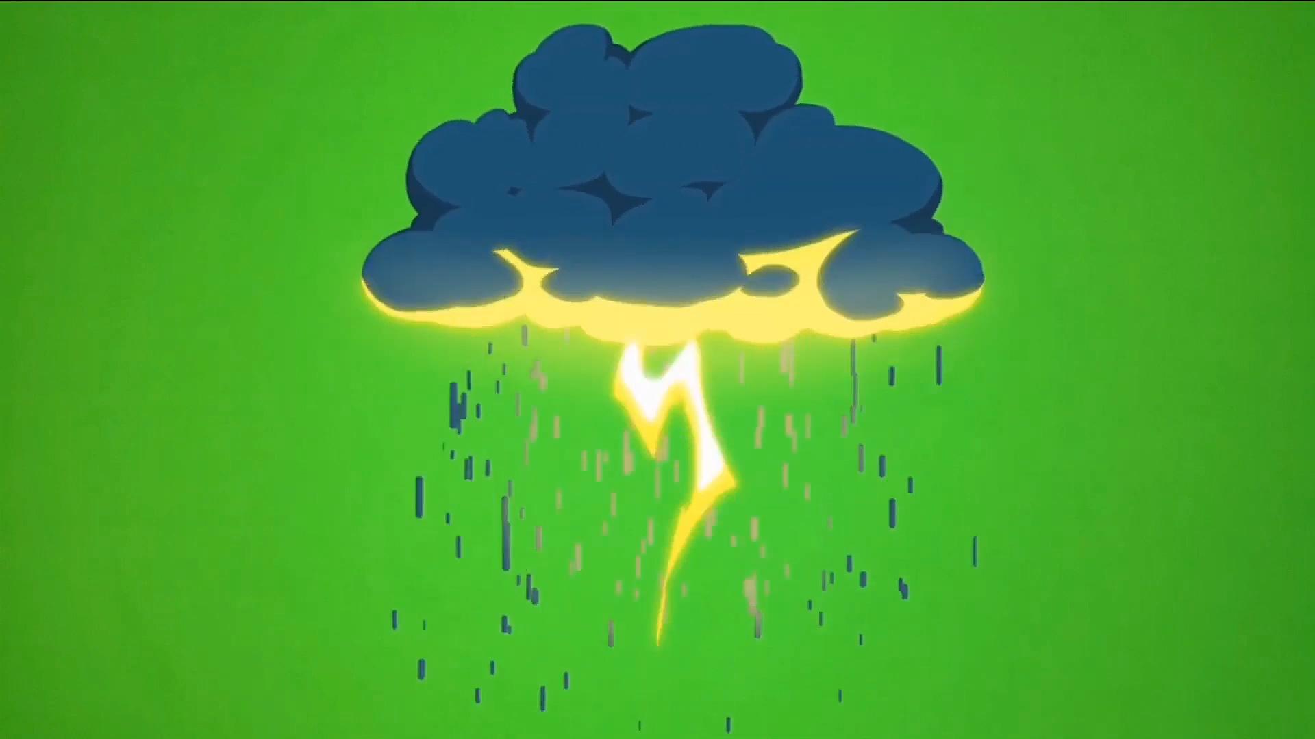 绿屏抠像卡通雷雨乌云