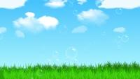 小清新蓝天白云草丛LED背景视频素材