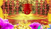 中国红大气牡丹红灯笼喜庆背景
