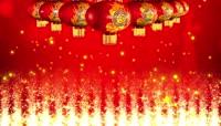 中国红流光风格新年元旦灯笼喜庆背景
