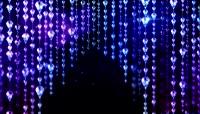 粒子风格蓝色珠帘唯美背景