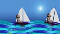 卡通风格小熊与帆船可爱背景