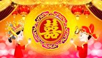 中国红囍字交杯酒喜庆背景