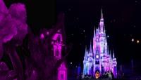 紫色流光风格木屋城堡唯美背景