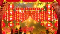 中国红流光风格春节喜庆灯笼背景