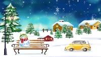 卡通风格圣诞节雪人可爱风景