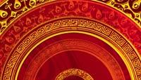 中国红剪纸中国结流光喜庆风格晚会歌舞演出背景