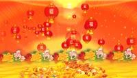 中国红新年元宝灯笼福字鲜花喜庆背景