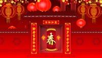 中国红喜庆灯笼对联背景